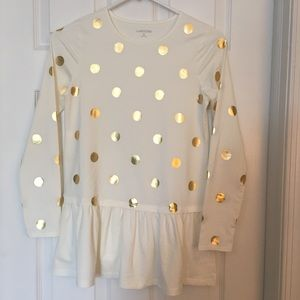 Lands End Girls top with gold Polka Dots, Like New